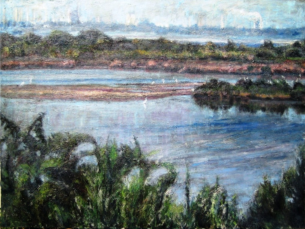 Baytown From Battleground Park-Acrylic on canvas-48h x 60w in