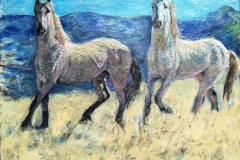 Mustangs-Acrylic on canvas-16h x 20w in
