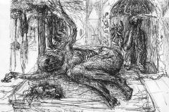 Pompeii Sketch-Graphite Pencil on paper-16h x 20w in