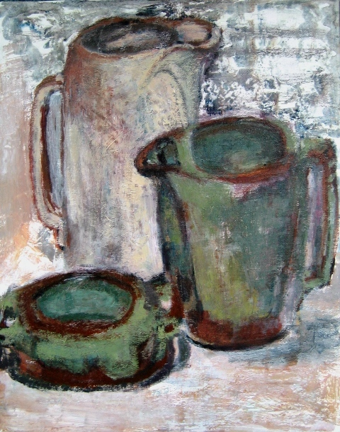 Frankoma Pottery-Acrylic on canvas-20h x 16w in