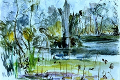 Brazos Bend Pond (II)-Watercolor on paper-11h x 15h in
