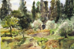 Fiesole Italy Ruins-Watercolor on paper-10h x 14w in