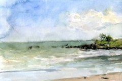 Jardin Beach-Watercolor on paper-16h x 20w in