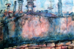 Palazzo Vecchio From My Terrace-2005-Watercolor on paper-20h x 26 w in