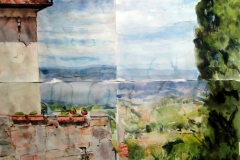 San Gimignano-Watercolor on paper-20h x 16w in