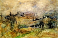 Tuscan Hills-Watercolor & Coffee on paper-16h x 20w in